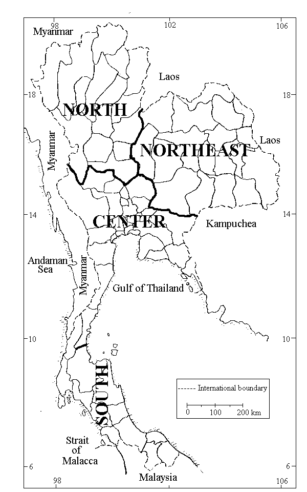 MBG Research Asia Moss Flora Of Thailand - Thailand regions map