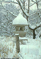 Teahouse Island Lantern in Snow
