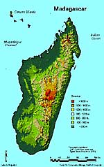 Madagascar topography map