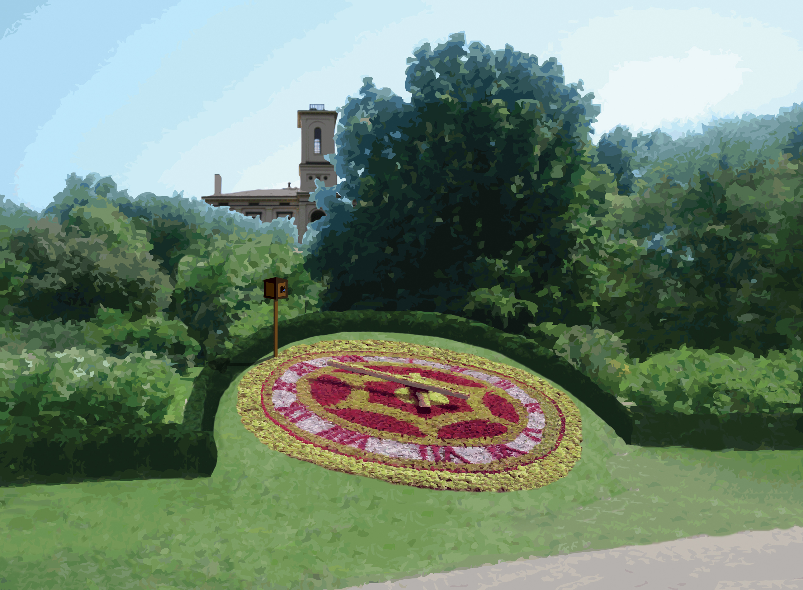 graphic rendering of the sesquicentennial floral clock at the missouri botanical garden on display from may through october 2009 in honor of the - Missouri Botanical Garden Hours